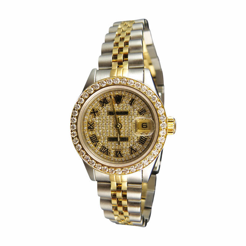 """Image of """"Rolex Datejust Two Tone 18K/Steel 3.5ct Pave Diamond Dial 26mm Watch"""""""