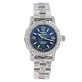 Breitling Colt 33mm Blue Dial A7738711.C850 Diamond Bezel Watch