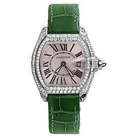 Cartier Roadster W62016V3 Green Alligator Strap Watch