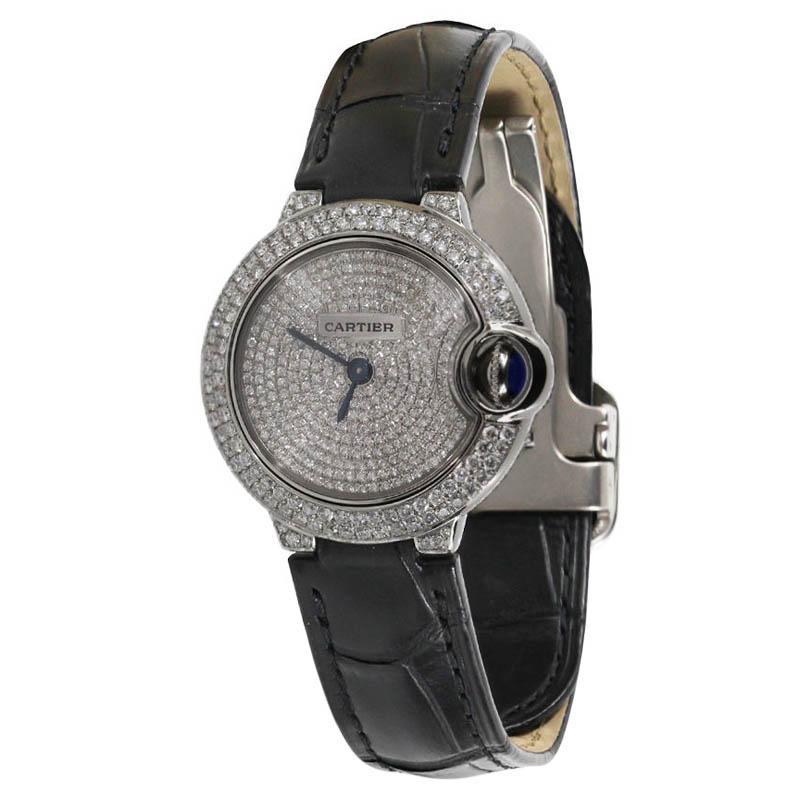 """Image of """"Cartier Ballon Bleu Silver Diamond Dial Stainless Steel Womens Watch"""""""