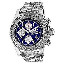 Breitling Super Avenger A13370 Blue Dial Diamond Bracelet and Bezel Watch