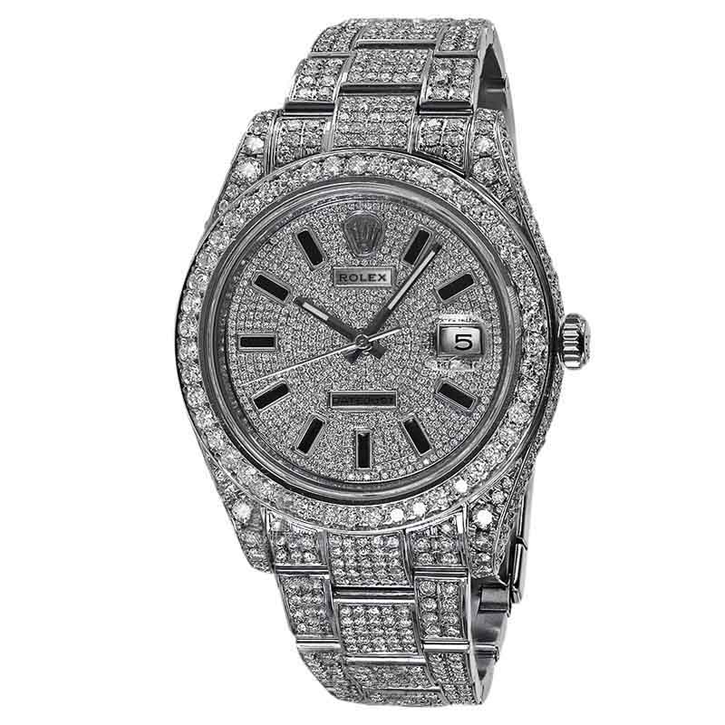 "Image of ""Rolex 116300 Datejust Ii Pave Diamond Dial Stainless Steel 41mm Watch"""