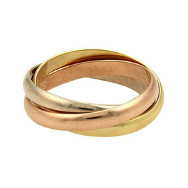 Cartier Trinity 18K Tri-Color Gold Rolling Band Ring EU 49
