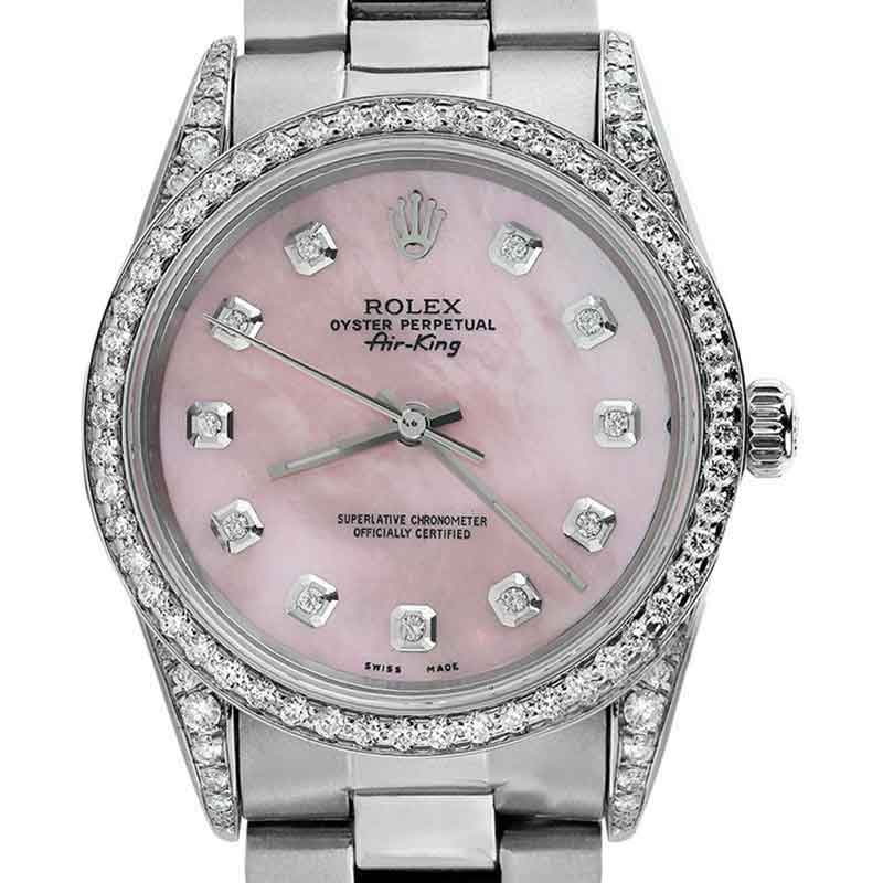 "Image of ""Rolex Air-King Stainless Steel Pink MOP Diamond Ladies 34mm Watch"""