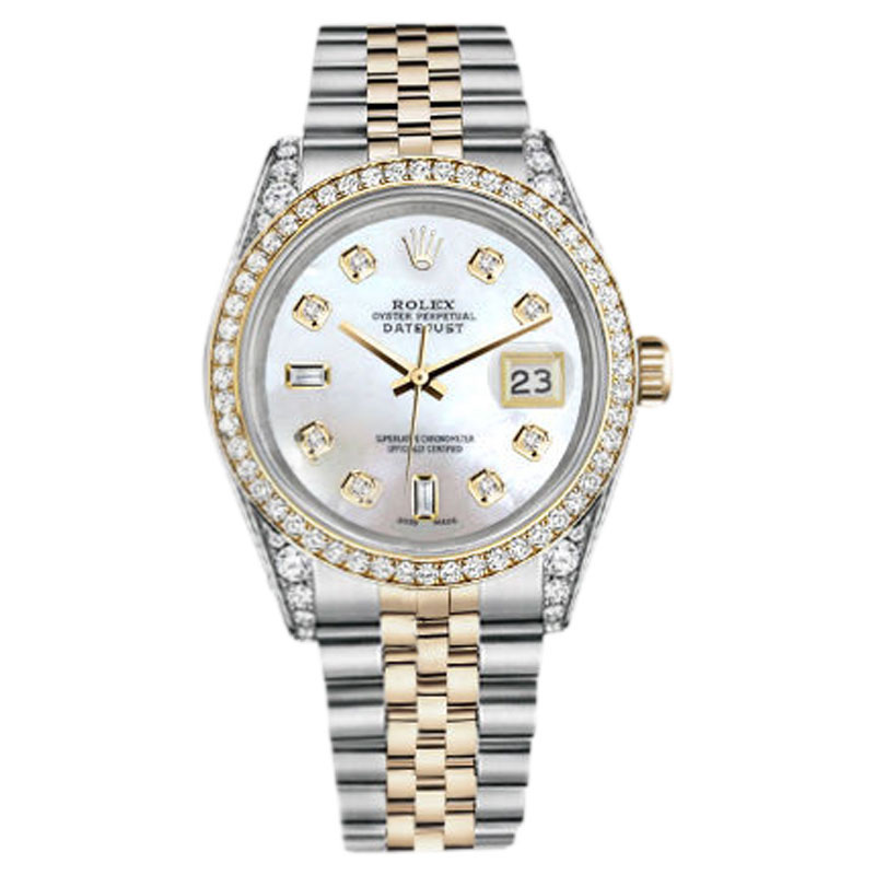"Image of ""Rolex Stainless Steel and Gold 36 mm Datejust White MOP Diamond Dial"""
