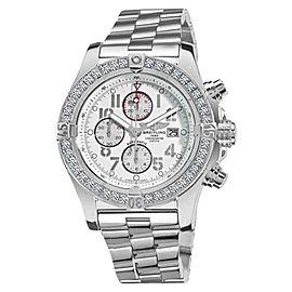 Breitling Super Avenger A13370 White Dial Arabic 3.20ct 1 Row Diamond Bezel Watch