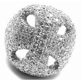 Damiani 18K White Gold Large Diamond Ring