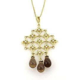 David Yurman 18K Yellow Gold Diamonds & Smokey Topaz Trefoil Cascade Pendant Necklace