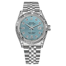 Rolex Datejust Ice Blue Color Dial 8 + 2 Diamond RT Men's Watch 36mm