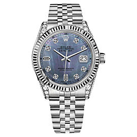 Rolex Datejust Tahitian MOP Mother of Pearl 8 + 2 Diamond Dial 36mm Watch