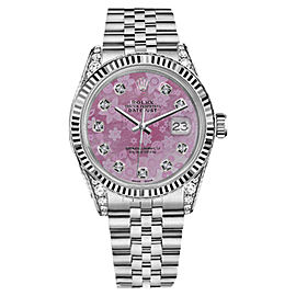 Rolex Datejust Pink Flower MOP Mother of Pearl Dial with 8+2 Diamond 31mm Ladies Watch