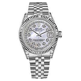 Rolex Datejust White MOP Mother Of Pearl String Diamond Dial Watch 36mm