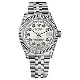 Rolex Datejust Silver String Diamond Accent Dial Womens Watch 26mm