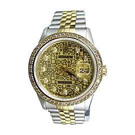 Rolex Datejust 2 Tone 18K Gold Steel Jubilee Band 3.75ct Diamond Mens 36mm Watch