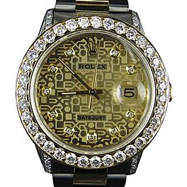 Rolex Datejust 2 Tone 18K Gold Steel Oyster Band 6.25ct Diamond Mens 36mm Watch
