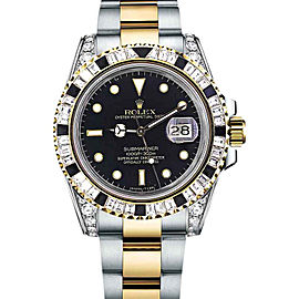 Rolex Submariner Two Tone 18K Gold Lugs Baguette Diamond Bezel Watch
