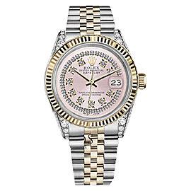 Rolex Datejust 2 Tone Pink String Diamond Dial Woman's Watch 26mm