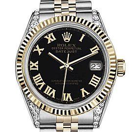 Rolex Datejust 2 Tone Black Color Roman Numeral Dial 36mm Watch