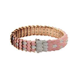 Roberto Coin 18K Two Tone Gold Cobra Diamonds Pink Enamel Bracelet
