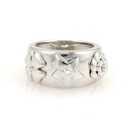 Chanel 18K White Gold Diamond Flowers & Star Band Ring