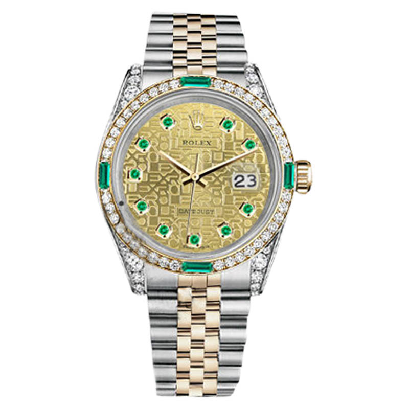 """Image of """"Rolex Datejust Steel and Gold Two Tone Emerald & Diamond Womens 26mm"""""""