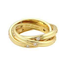 Cartier Trinity Diamonds 18K Yellow Gold Grooved Band Ring Size 5.25