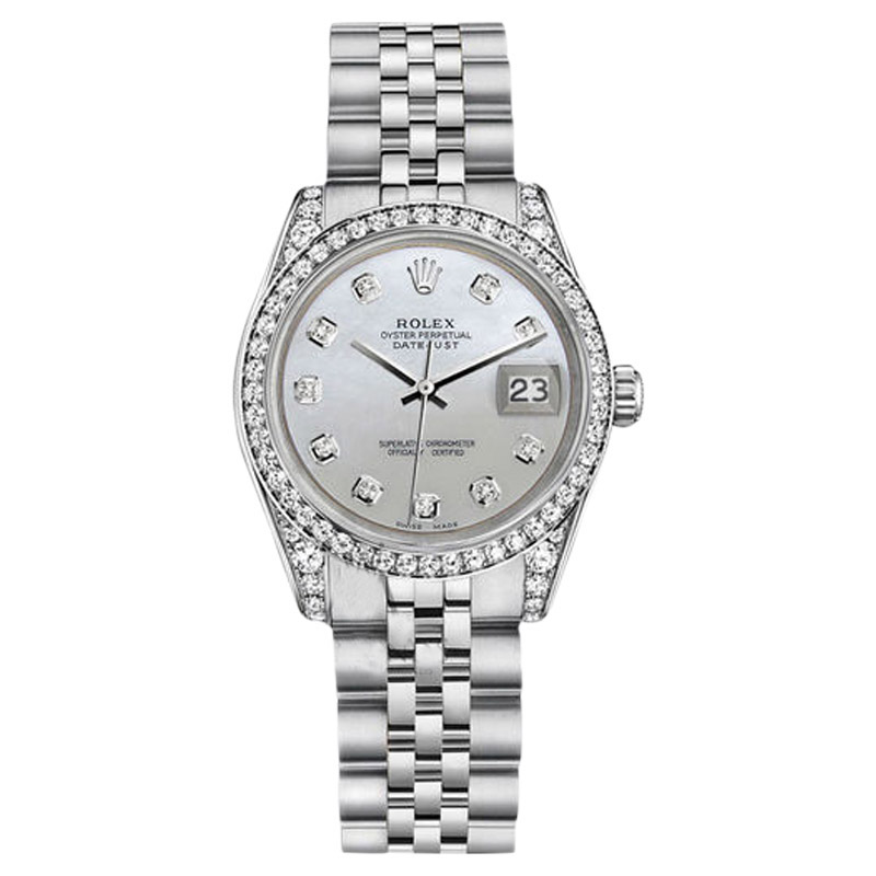 """Image of """"Rolex Datejust Steel White Mother Of Pearl Diamond Dial Womens Watch"""""""