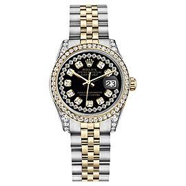 Rolex Datejust Steel Gold Glossy Black String Diamond Dial Watch 26mm