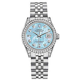 Rolex Datejust Steel Baby Blue Mother Of Pearl Diamond Dial Womens 26mm Watch