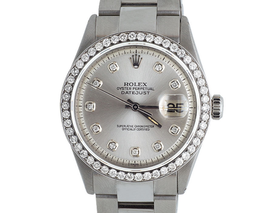 "Image of ""Rolex Datejust Stainless Steel Oyster Silver Dial 2.5 Ct Mens 36mm"""