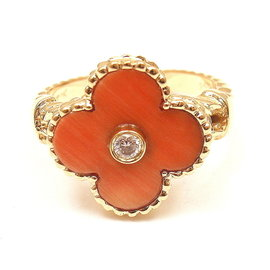 Van Cleef & Arpels 18K Yellow Gold Alhambra Diamond Coral Ring