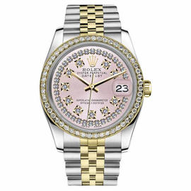 Rolex Datejust Two Tone Pink String Diamond Dial 26mm Watch