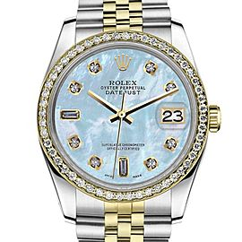 Rolex Datejust Two Tone Baby Blue Mother Of Pearl 8+2 Diamond Womens 26mm Watch