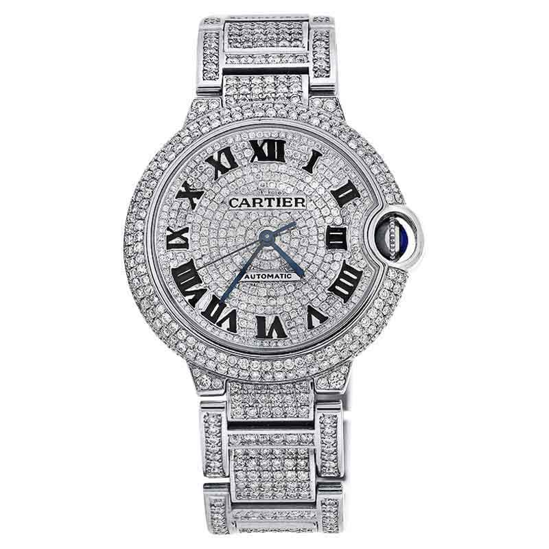 "Image of ""Cartier Ballon Bleu W6920071 Automatic Small Watch Diamond Pave Dial"""