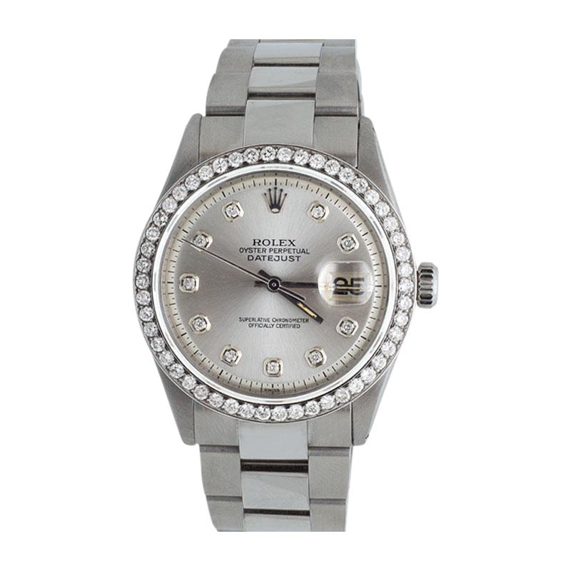 "Image of ""Rolex Datejust Oyster Silver Dial Stainless Steel 2.5ct Diamond Mens"""