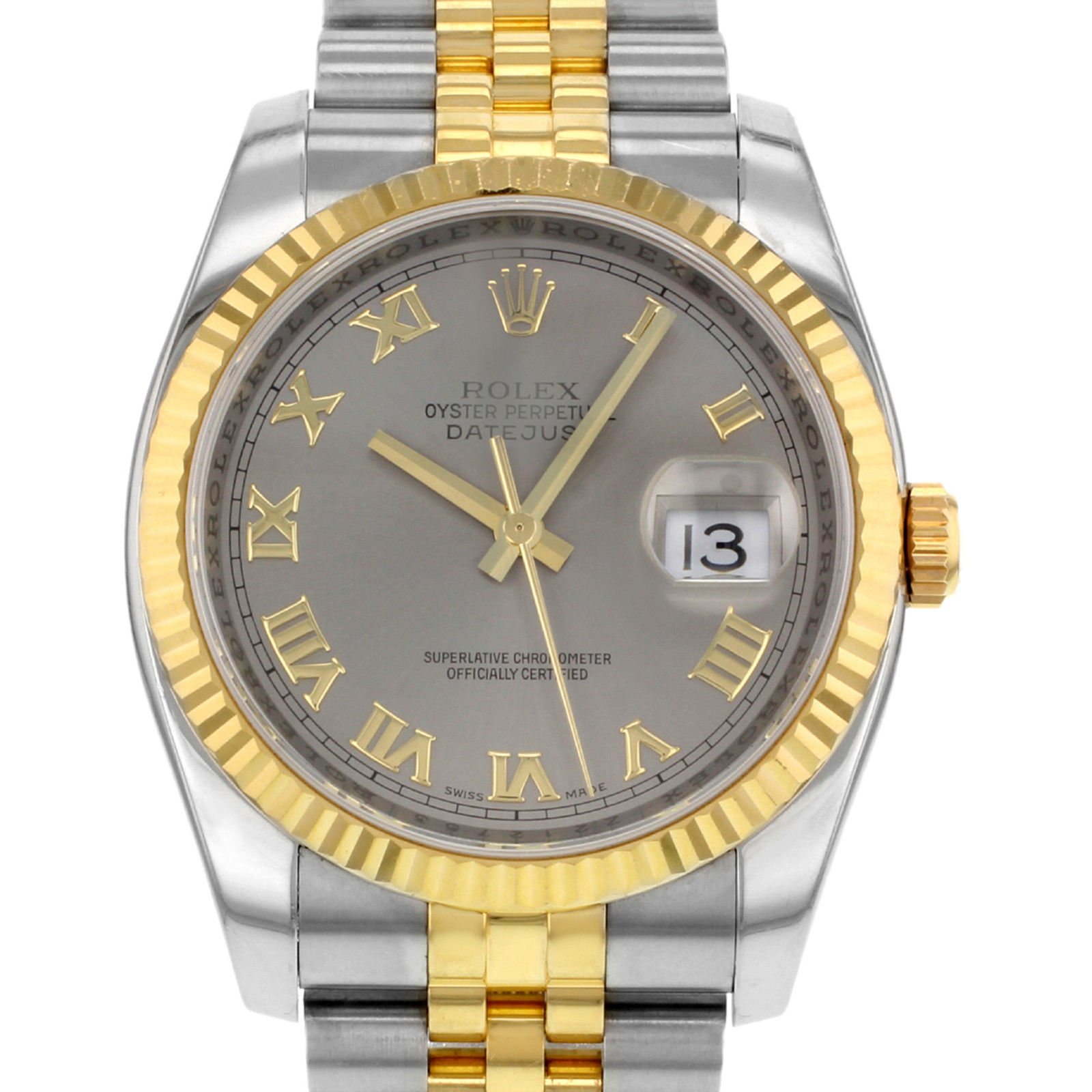 "Image of ""Rolex Datejust 116233 GRJ 18K Yellow Gold & Steel Automatic Men's"""