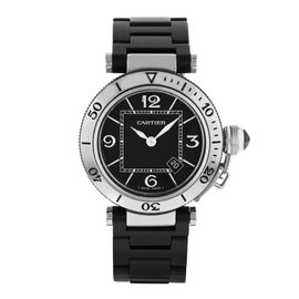 Cartier Pasha W3140003 Stainless Steel & Rubber Quartz Womens Watch