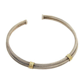David Yurman 925 Silver & 18K Yellow Gold Double Cable Wire Choker Necklace