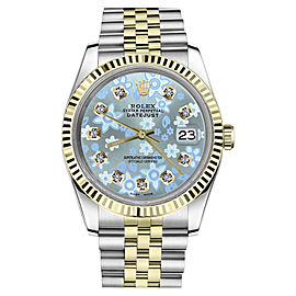 Rolex Datejust 2Tone Glossy Ice Blue Flower Dial with Diamond Accent Womrens 36mm Watch