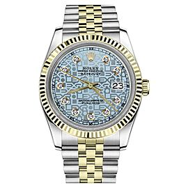 Rolex Datejust 2Tone Ice Blue Color Dial with Diamond Accent Womens 36mm Watch