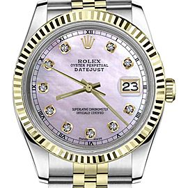 Rolex Datejust TwoTone Pink Mother Of Pearl Dial Diamond Accent 36mm Womens Watch