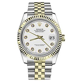 Rolex Datejust 2Tone White Color Dial with Diamond Accent RRT 36mm Watch
