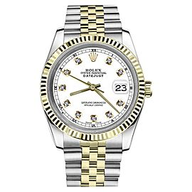 Rolex Datejust 2Tone White Color Dial with Diamond Accent RT 36mm Watch