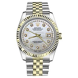 Rolex Datejust 2Tone White MOP Mother of Pearl String Diamond Dial 26mm Watch
