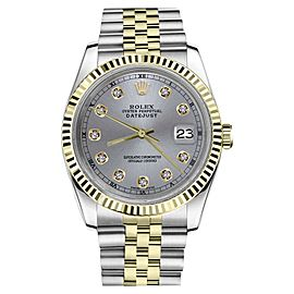 Rolex Datejust 2Tone Grey Color Dial with Diamond Accent RT Womens 36mm Watch
