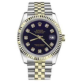 Rolex Datejust 2Tone Purple Color Dial with Diamond Accent Womens 36mm Watch