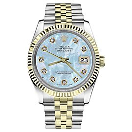 Rolex Datejust Two Tone Blue Mother Of Pearl Dial with Diamond Accent Womens 26mm Watch