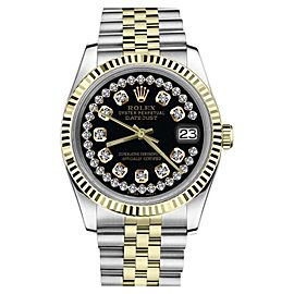 Rolex Datejust Two Tone Glossy Black String Diamond Accent Dial Womens 26mm Watch