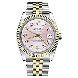 Rolex Datejust Two Tone Metallic Pink Diamond Dial Mens 36mm Watch