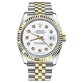 Rolex Datejust 2Tone White Color Jubilee Dial Diamonds Womens 26mm Watch